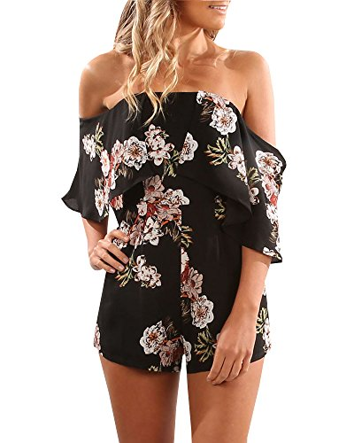 YOMISOY Women Summer Ruffle Floral Print Slash Strapless Short Jumpsuits Rompers Outfits (Small, (Slash Outfits)