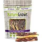 Nature Gnaws 100% Natural Beef Chews - Combo Pack - (2) Braided Bully Sticks, (2) Tendons & (2) Jerky Springs (6 total pieces) 5-6 inch - Oven-Baked Grass-Fed Free-Range Premium Beef Dog Treats