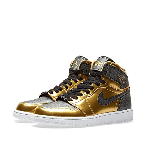 Jordan 1 Big Kid Gold/Black-White 909805 705 by Jordan