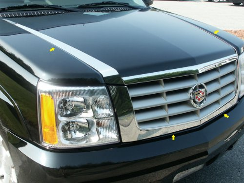 - QAA FITS ESCALADE 2002-2006 CADILLAC (4 Pc: Stainless Steel Hood Accent Trim, 4-door, SUV) HT42255