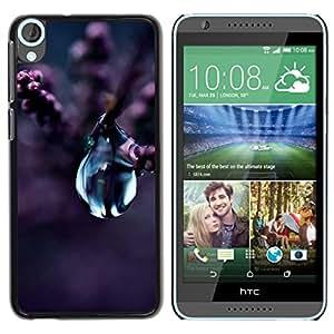 """For HTC Desire 820 Case , Flor de la gota del agua Naturaleza púrpura de la flor de la planta"""" - Diseño Patrón Teléfono Caso Cubierta Case Bumper Duro Protección Case Cover Funda"""