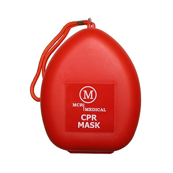 MCR Medical CPR Rescue Mask, Adult/Child Pocket Resuscitator, Hard Case with Wrist Strap