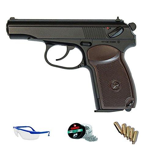 Makarov PACK KWC Pistola de aire comprimido (CO2) y balines de acero (perdigones BBS) calibre 4.5mm. Réplica 3, 5J