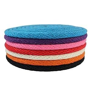 "SGT KNOTS Solid Braid Cotton Rope / Sash Cord 1/8"", 3/16"", 1/4"", 3/8"" - Several Colors (Black 1/4""x25')"