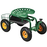 go2buy®Garden Cart Rolling Work Seat With Tool Tray Gardening Planting Yard Heavy Duty