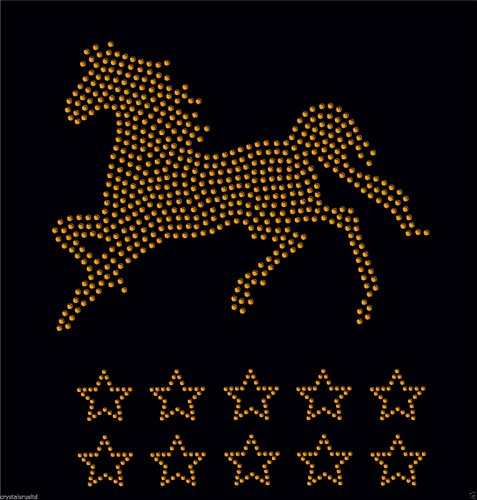 Gold 2x Horse Gallop + 10 horse shoes iron on Rhinestone Transfer crystal hotfix t-shirt transfer
