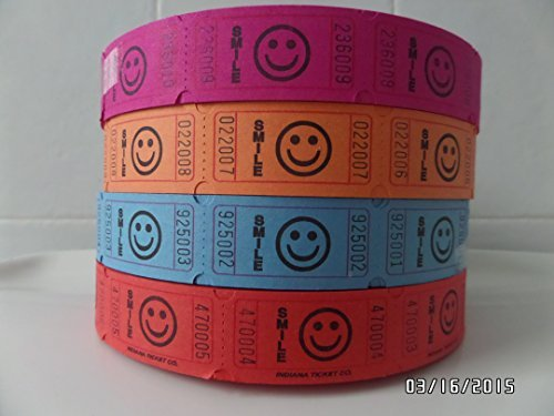 Dark Assortment of High Quality Indiana Ticket Company Smile Tickets / Purple Orange Blue & Red 2000 Tickets Per Roll