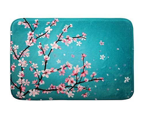 (Cherry Blossom Floral Memory Foam Bath Mat Sakura Flowers Plush Bathroom Decor Rug Thick Shaggy Bathroom Floor Carpet Absorbent, Super Cozy Non Slip Machine Wash and Dry, 16