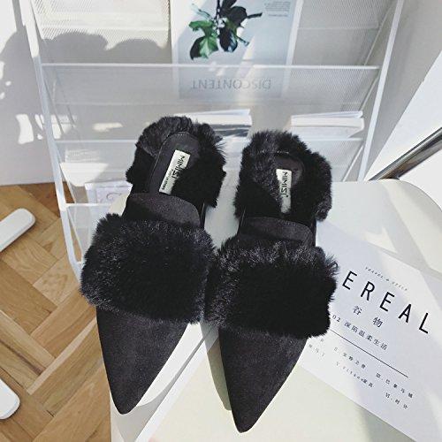 Fankou autunno pantofole punta a fondo piatto ossa pigro, pantofole ,36, nero