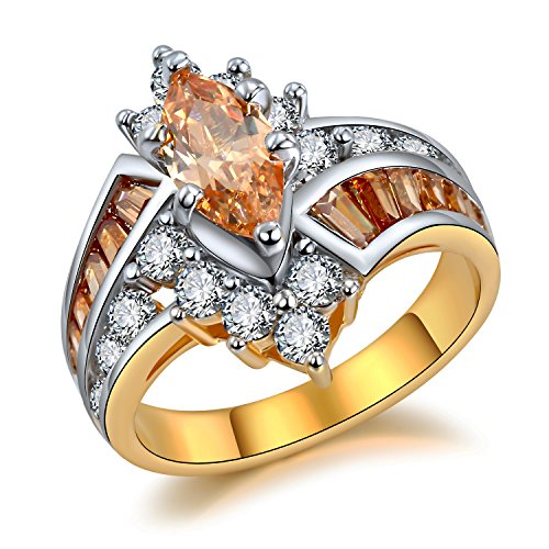 - Hiyong Two-tone Flashy Bypass Engagement Rings - Marquise with Round & Baguette CZ Swirl Band Size 6-9
