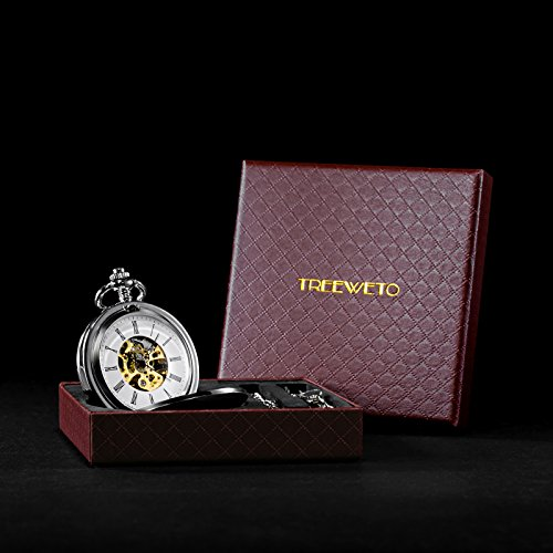 TREEWETO Double Open Skeleton Pocket Watch Mechanical Hand Wind Full Hunter Watch for Men Women by TREEWETO (Image #6)