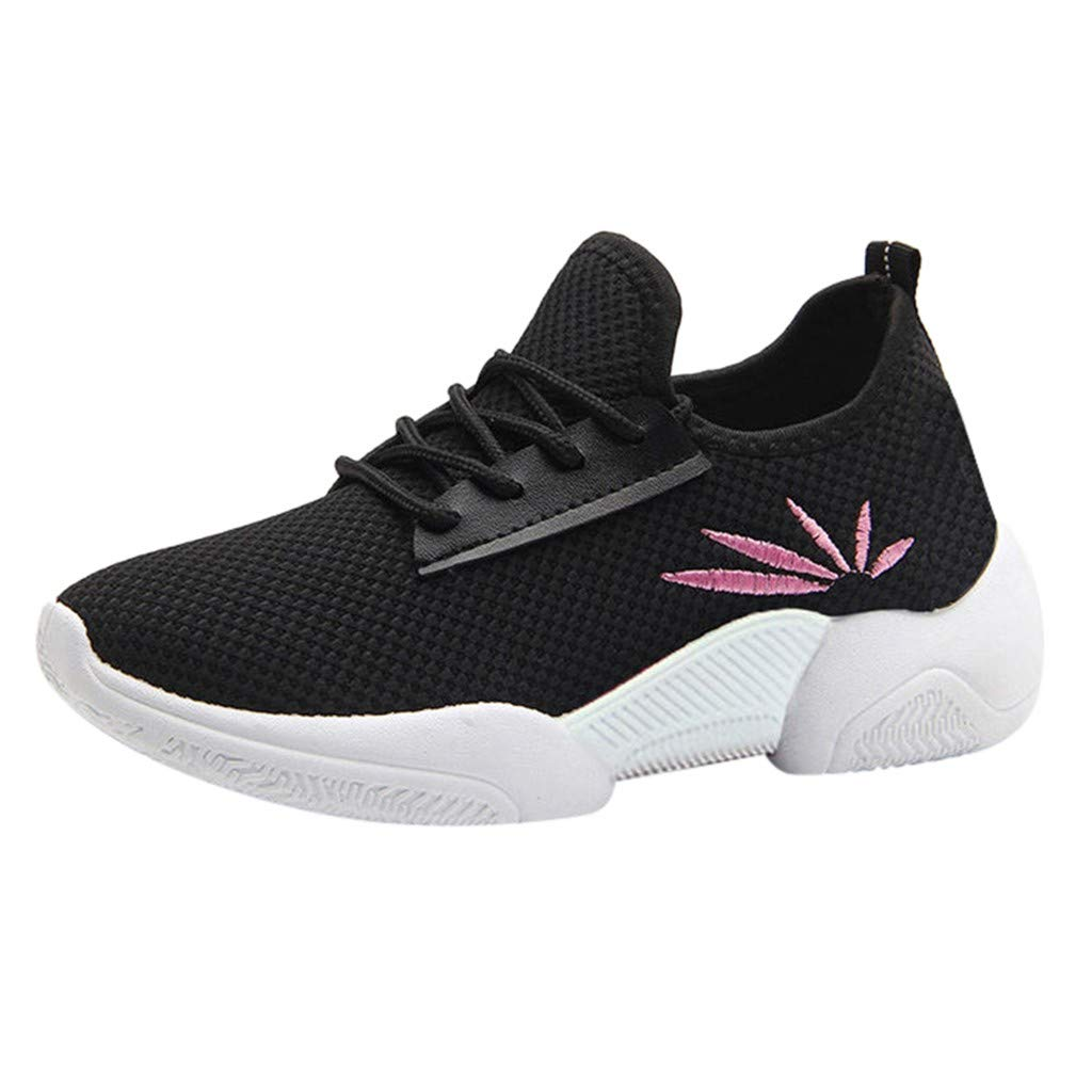 Garish  Women's Leaf Printing, Anti-Slip Sport Walking Sneakers Loafers Soft Shoes,Sell Well Black