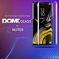 Dome Glass Galaxy Note 9 Screen Protector Tempered Glass, Full 3D Curved Edge Screen Shield [Liquid Dispersion Tech] Easy Install Kit by Whitestone for Samsung Galaxy Note 9 (2018) - Replacement Only by Dome Glass