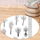 VROSELV Custom carpetApartment Decor Spooky Horror Movie Themed Branches Forest Trees Nature Art Print for Bedroom Living Room Dorm Black and White Round 79 inches