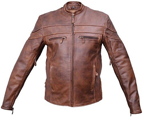 Vented Touring Jacket (Brown Buffalo Leather Cafe Racer Touring Jacket Vented Zip Out Liner (44))