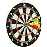 Sunlin Double Sided Dart Board Game - with 6 Darts - Size 12""