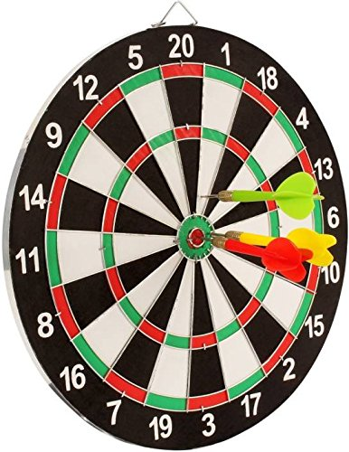 Buy Sunlin Double Sided Dart Board Game With 6 Darts Size 12