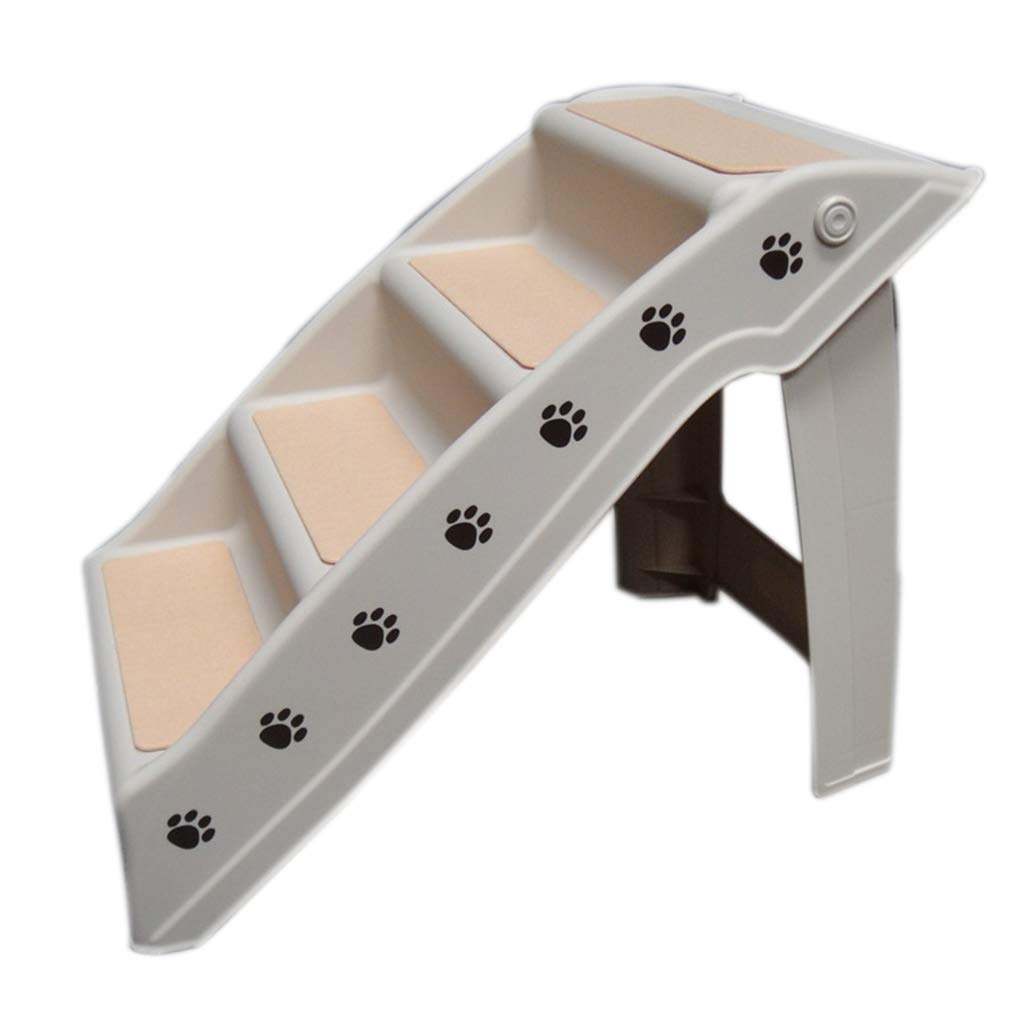 4 Step Pet Stairs Folding Dog Cat Animal Step Ramp Ladder Foldable Plastic Portable for Tall Bed Indoor Outdoor, Beige