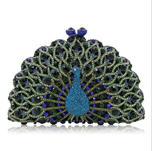 Purse Giltter Clutches Women Peacock Green Evening Handbag Banquet Diamonds Clutch Bag Crystal Evening wx1Bvtq1C