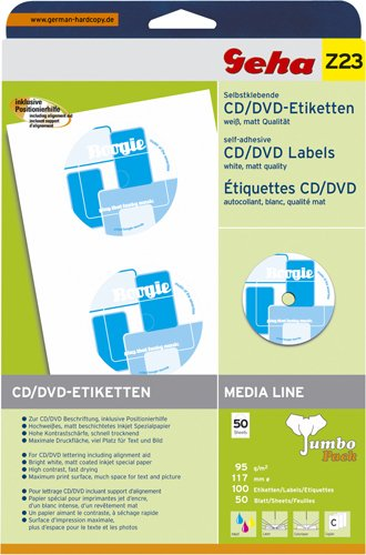 Geha Self-adhesive CD/DVD labels White Matte 50 Sheets ...