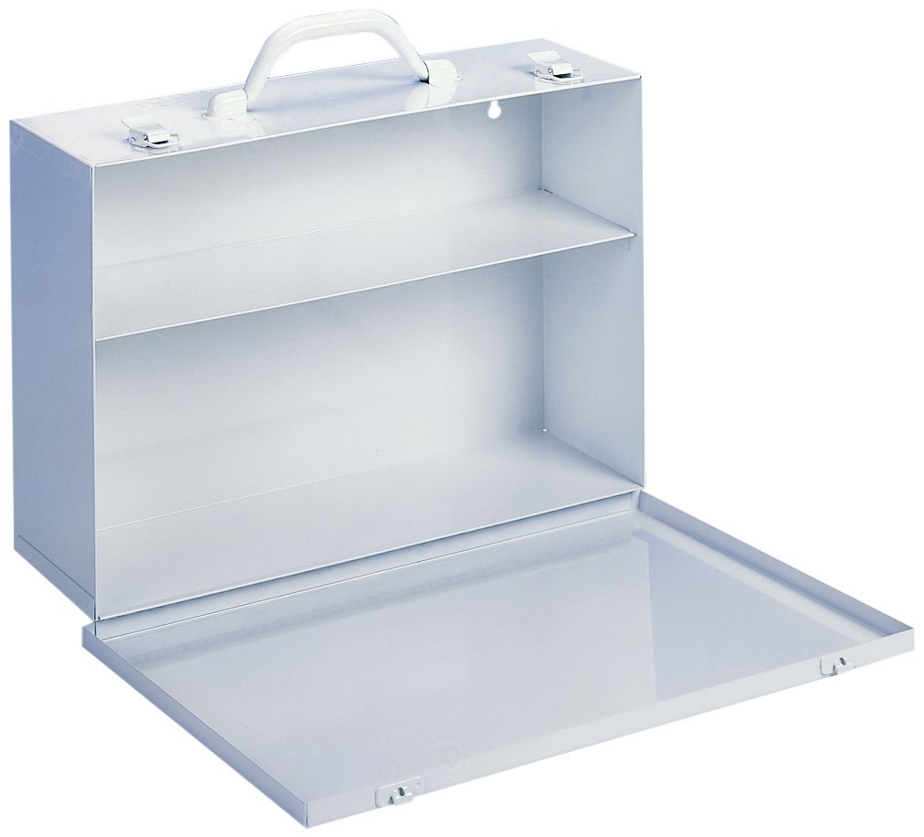 Durham 533-43 White Cold Rolled Steel 7FX Industrial Empty First Aid Cabinet with Fold Down Door, 15'' Width x 10-1/4'' Height x 4-1/2'' Depth, 2 Shelves