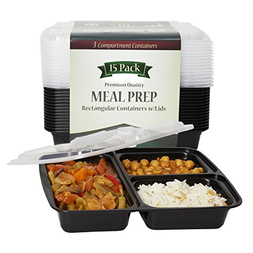 meal prep containers with lids 15 pack 3 compartment lunch containers bento boxes food. Black Bedroom Furniture Sets. Home Design Ideas