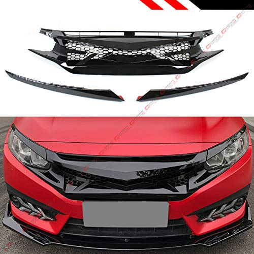 - Fits for 2016-2019 Honda Civic 10TH Gen Glossy Black JDM Battle Style Front Hood Grill Grille