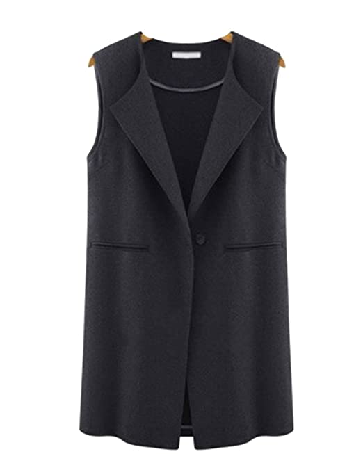 7fbf7c61f745f5 Kasen Womens Ladies Sleeveless Blazer Cardigan Long Waistcoat Jacket Top  Black XL  Amazon.co.uk  Clothing