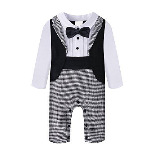 Baby Boy Romper 1pcs Toddler Outfit Clothing Set Tuxedo Jumpsuit & Bowtie Pants