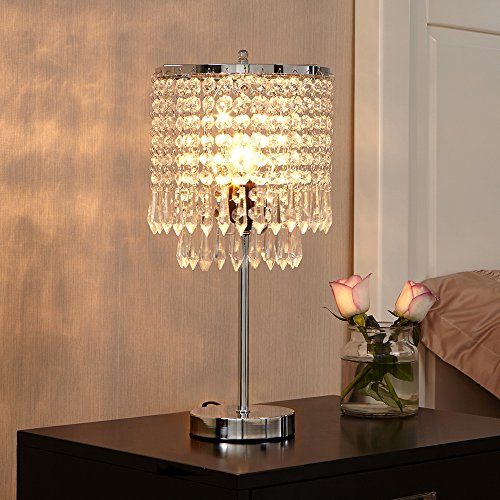 POPILION Creative Fashion Design Bedroom Bedside Crystal Table Lamp,Hand Picked Crystal Photo #2