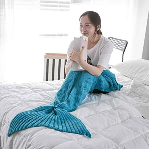 Crochet Edging Baby Blanket (RAN SHAOBA Yarn Knitted Handmade Crochet Blanket Kids Throw Bed Wrap Super Soft Sleeping Lake Blue Baby 50x80CM)