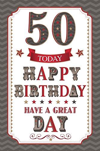 Edad 50 macho Tarjeta de cumpleaños - marrón texto, Zig Zag ...