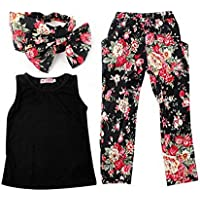 Jastore Girls Sets 3PCS Sleeveless Shirt/Tops + Floral Pants + Headband Clothes