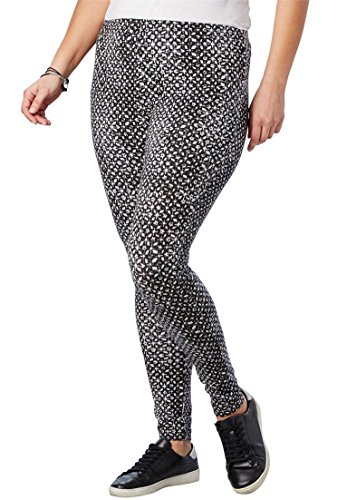 Women's Plus Size Stretch Cotton Printed Legging by Woman Within