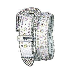 Dazzling White Crystal Studded Leather Belt