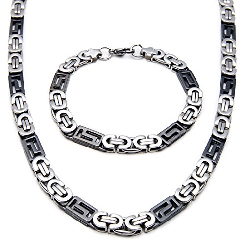 Polished Stampato Necklace - Mecoo America Fashion Style Jewelry Sets Black White Link Byzantine and Stampato Chain Stainless Steel High Polished Necklace and Bracelet Sets for Men (Necklace and Bracelet)