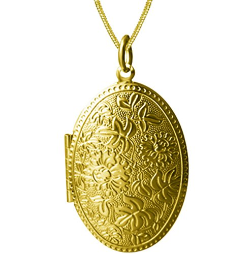 Family Photo Picture Oval Floral Pendant Locket Necklace Floral Charm Girl Gold Plated 17.55 -