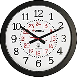 Lorell Military Wall Clock, 14-3/4-Inch, White Dial/Black Frame