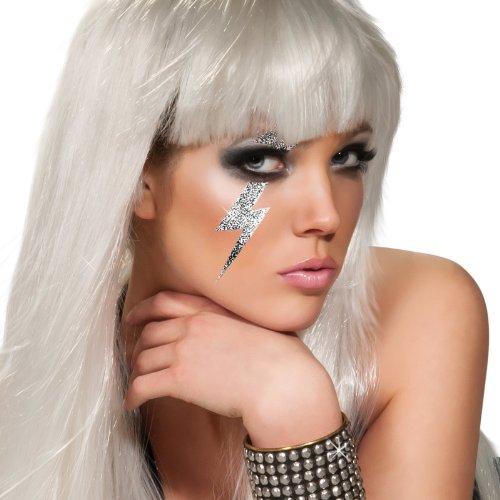 Rubie's Costume Co Lady Gaga Lighting Bolt Tattoo, Silver, One Size