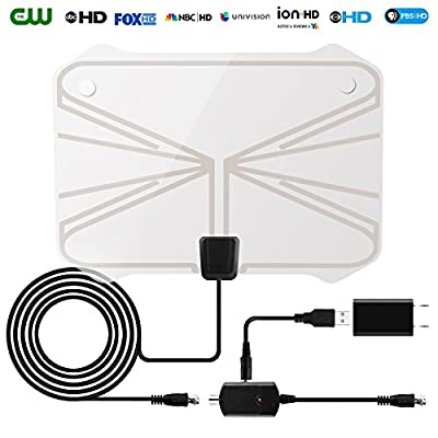 HDTV Antenna,60-80 Mile Range Digital TV Receiver With Detachable Amplifier, USB Power Supply And 16.4ft Coax Cable?Indoor TV Antenna Ransparent Appearance Upgrated Version(2018 New Version)