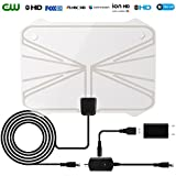HDTV Antenna,60-80 Mile Range Digital TV Receiver With Detachable Amplifier, USB Power Supply And 16.4ft Coax Cable,Indoor TV Antenna Transparent Appearance Upgrated Version(2018 New Version)