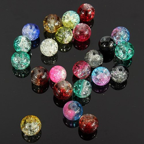 - Connoworld 100Pcs/Set 8mm Mixed Color Cracked Round Glass Loose Beads Crafts DIY Jewelry