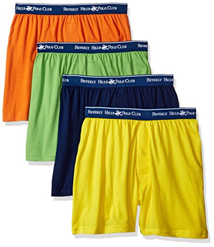 Beverly Hills Polo Club Men's 4 Pack Knit Boxer, Bright Yellow/Navy/Orange/Lime Green, -