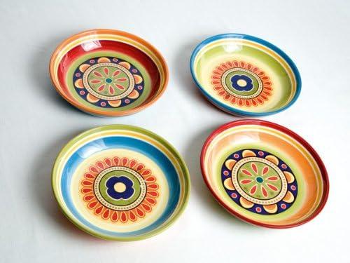 4 Piezas, Piedra de Hierro, Multicolor, Talla /única Juego de Platos de Sopa BRANDANI