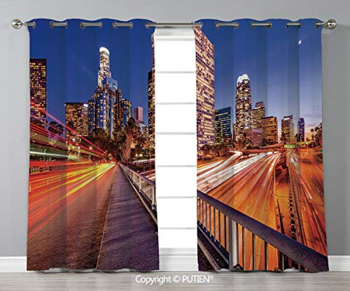 Grommet Blackout Window Curtains Drapes [ Night,USA Downtown City Skyline over the Highway Los Angeles California Travel Destination,Multicolor ] for Living Room Bedroom Dorm Room Classroom Kitchen Ca (Time Difference Between Los Angeles And Ohio)