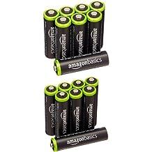 AmazonBasics AA Ni-MH Pre-Charged Rechargeable Batteries (8-Pack) - 1000 Cycle with AmazonBasics AAA Ni-MH Pre-Charged Rechargeable Batteries (8-Pack) - 1000 Cycle