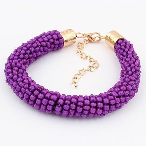 Handmade Weave Multi-stone Toggle Bracelet (Purple)