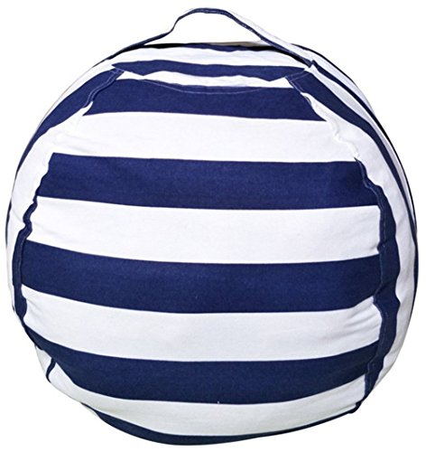 Stuffed Animal Storage Bean Bag Chair, Bean Bag Cover for Organizing Kid's Room . Fits a Lot of Stuffed Animals, Large/Blue Stripe