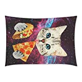Happy More Custom Space Nebula Universe Cat Eat Pizza Pillow Case 20x30 inch(One Side)