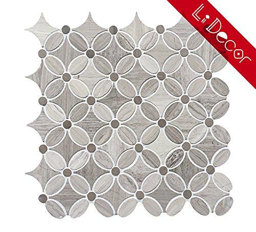 Bathroom Floor Wall Tiles (White Oak (Drift Wood)Louis Flower Pattern Decorative Marble Mosaic Tile Wall Decor Bathroom Decor Kitchen Decor Backsplash Floor Wall Tiles Mesh-Mounted Honed(3.9sf.,5Pack Per Case))